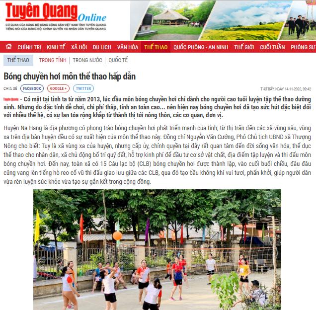 Baáo Tuyên Quang nói về phong trào bóng chuyền hơi