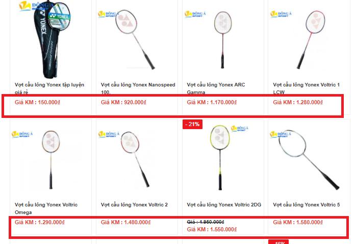 Giá các loại vợt cầu lông