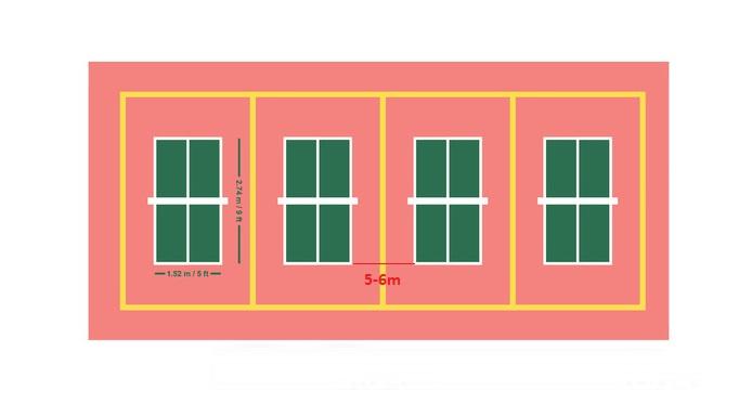 Sân bóng bàn câu lạc bộ mỗi bàn cần đặt cách nhau 5-6m, tấm cách cao 75cm