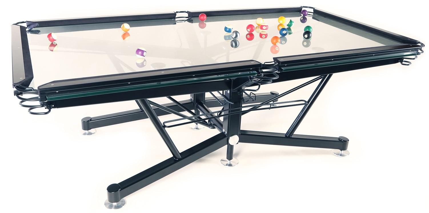 """Thiết kế mặt kính khác lạ của bàn """"G-1 Glass Top Pool Table"""""""