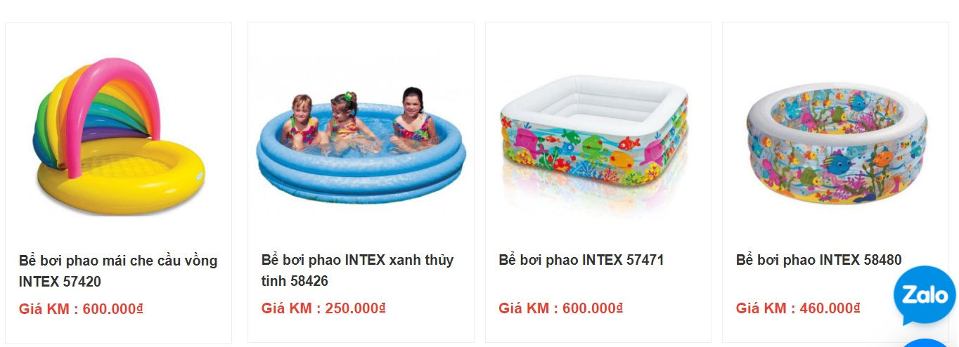 Giá bán một số mẫu bể bơi phao trẻ em