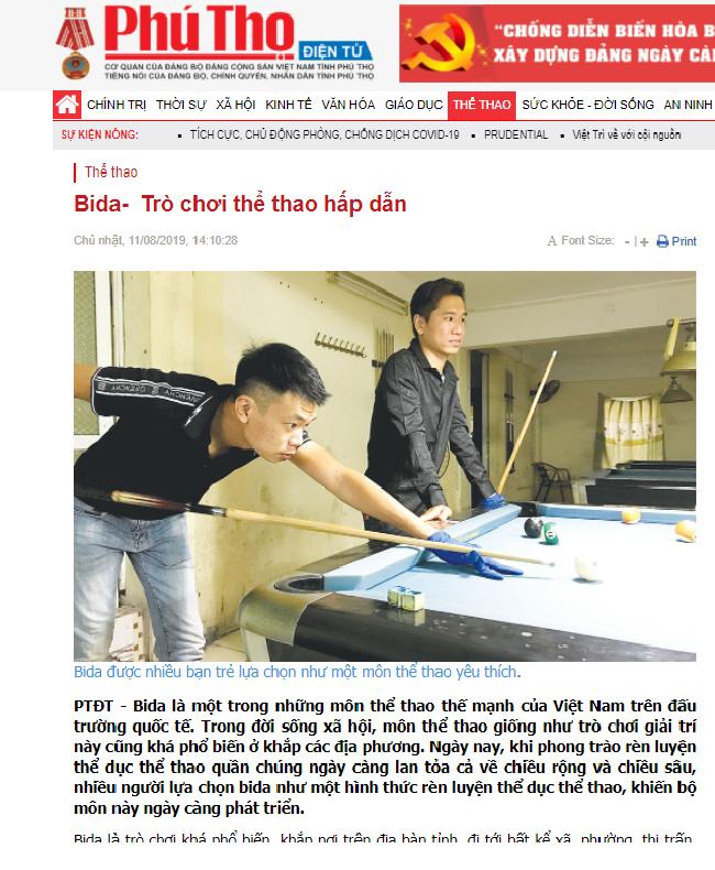 Báo chí Phú Thọ nói về bộ môn bida