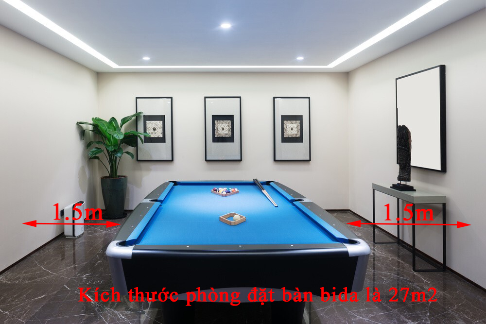 Kích thước phòng đặt bàn bida có diện tích 27m2