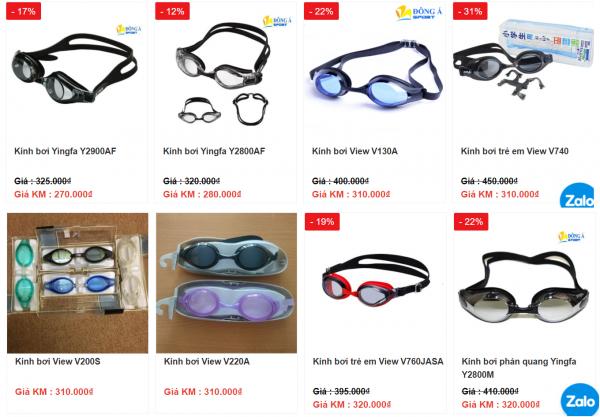 Giá bán của một số mẫu kính bơi
