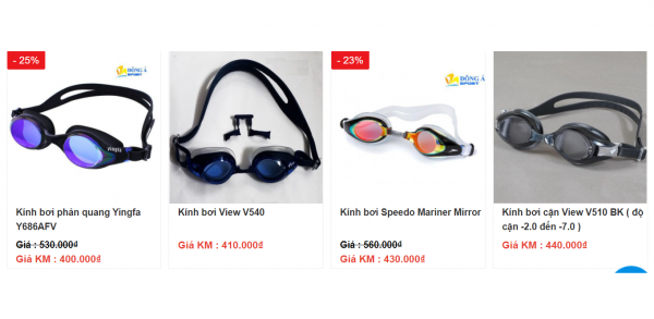 Một số mẫu kính bơi giá rẻ