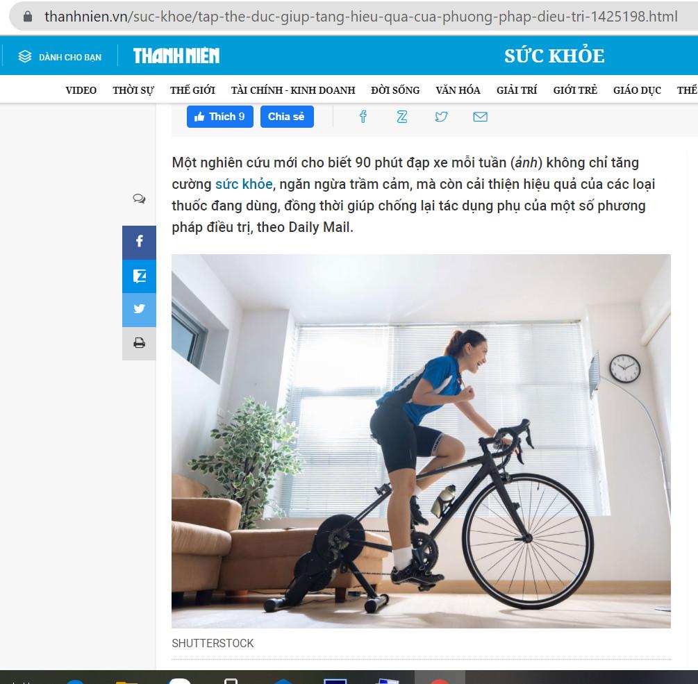 Báo thanh niên nói về tác dụng của việc đạp xe
