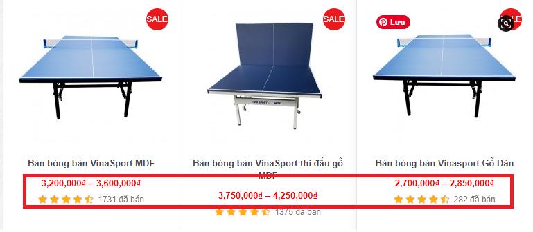Giá bán của bàn đánh