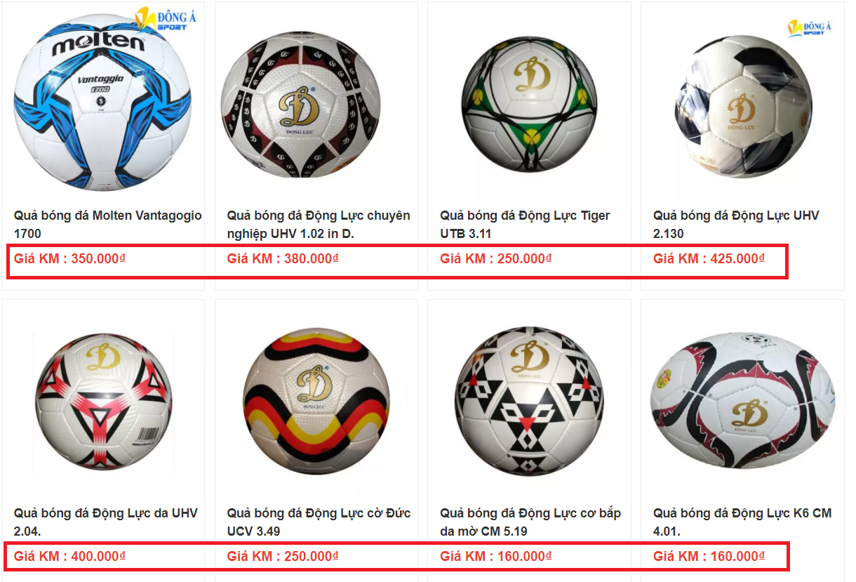 Giá bán của trái banh bóng đá