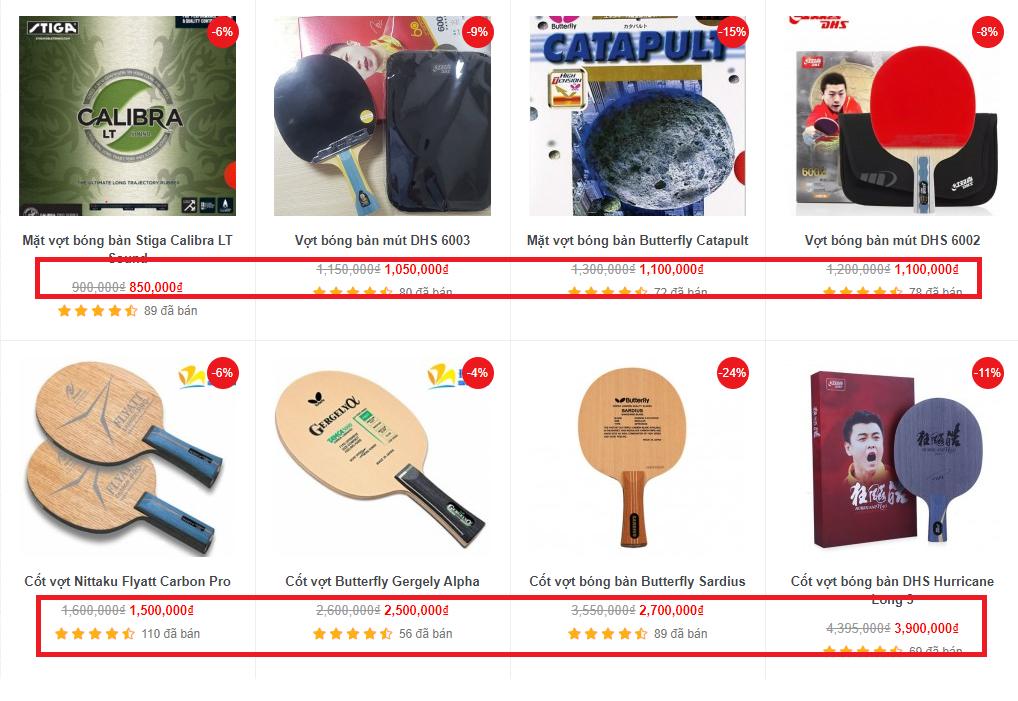 Giá bán của vợt bóng bàn