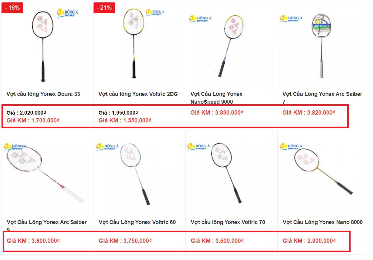 Giá bán của vợt đánh Yonex